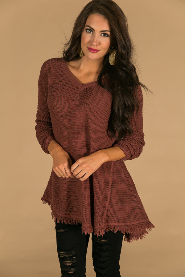 Make You Smile Sweater In Rustic Rose