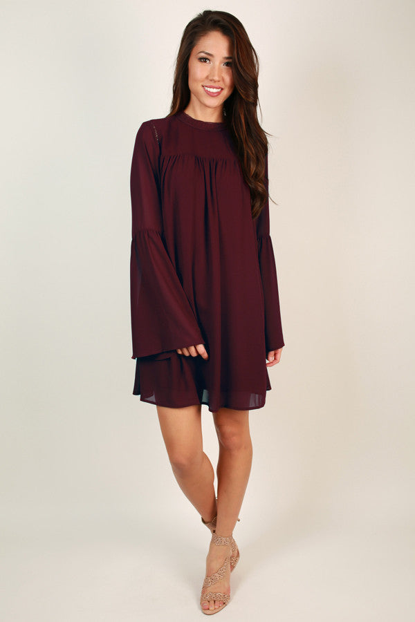 All The Fun Shift Dress in Wine