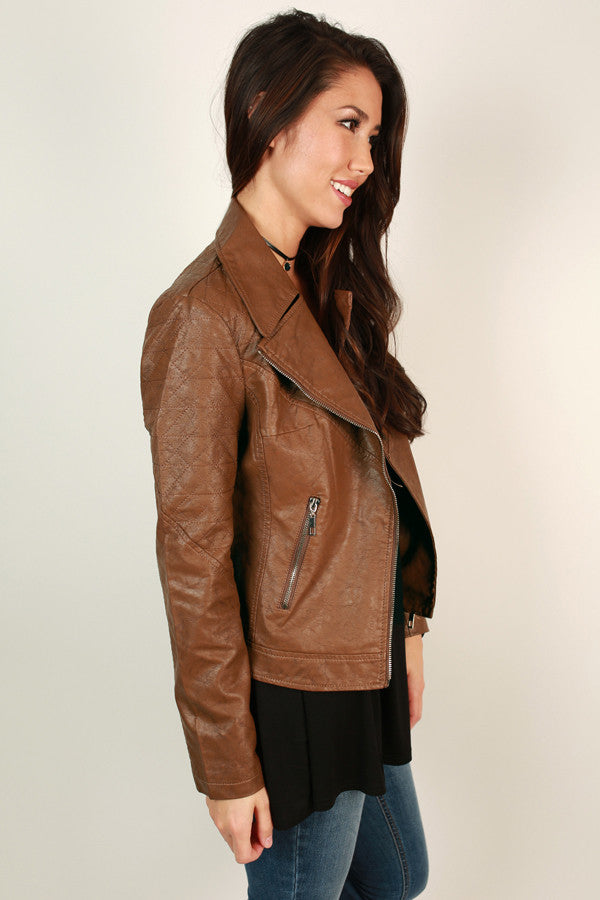 Feelin' Flawless Faux Leather Jacket in Brown