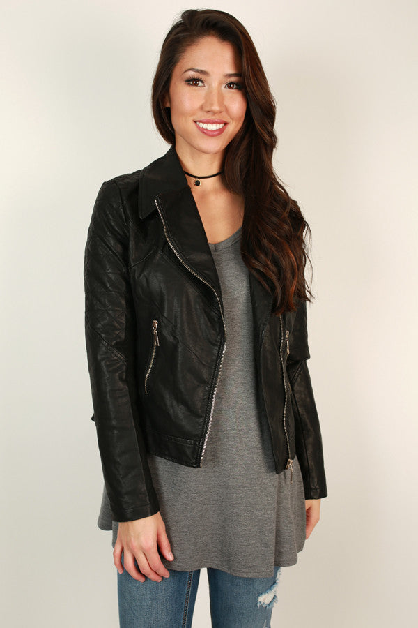 Feelin' Flawless Faux Leather Jacket in Black