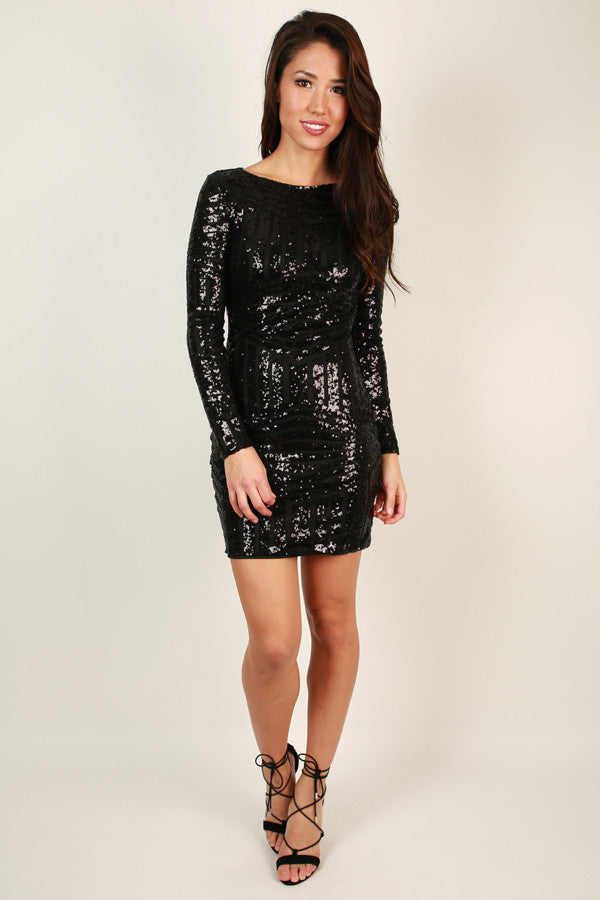 Get Glitzy Sequin Dress in Black