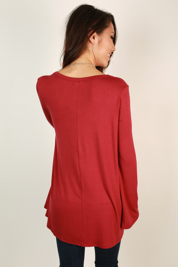 Piko Flare Sleeve Tee In Red