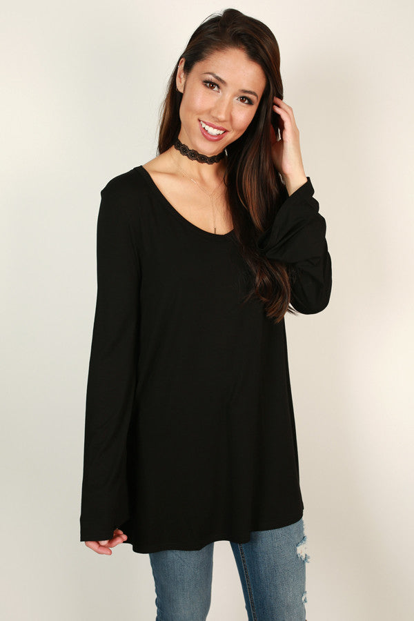 Piko Flare Sleeve Tee In Black