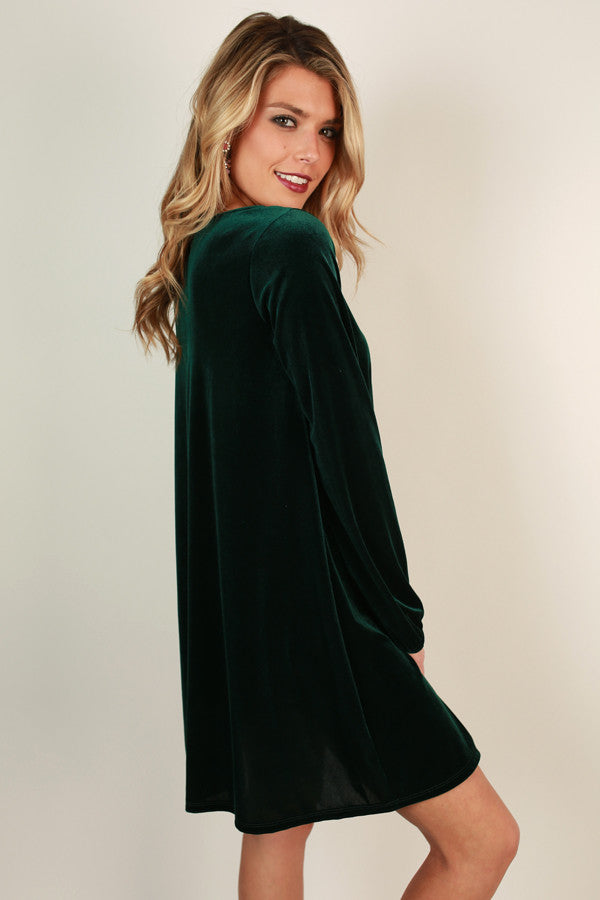 Velvet Happiness Shift Dress in Hunter Green