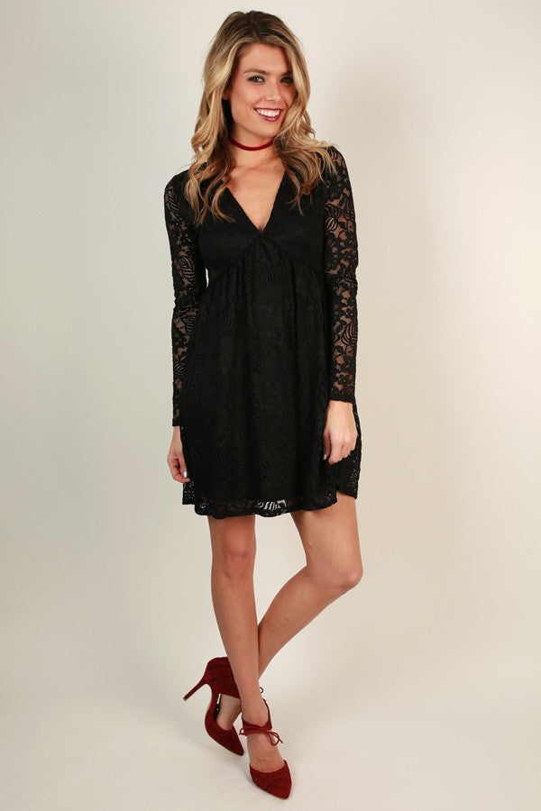 Lovely in Lace Dress in Black