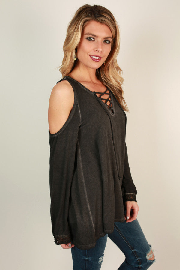 Let's Go Out And About Lace Up Top In Black