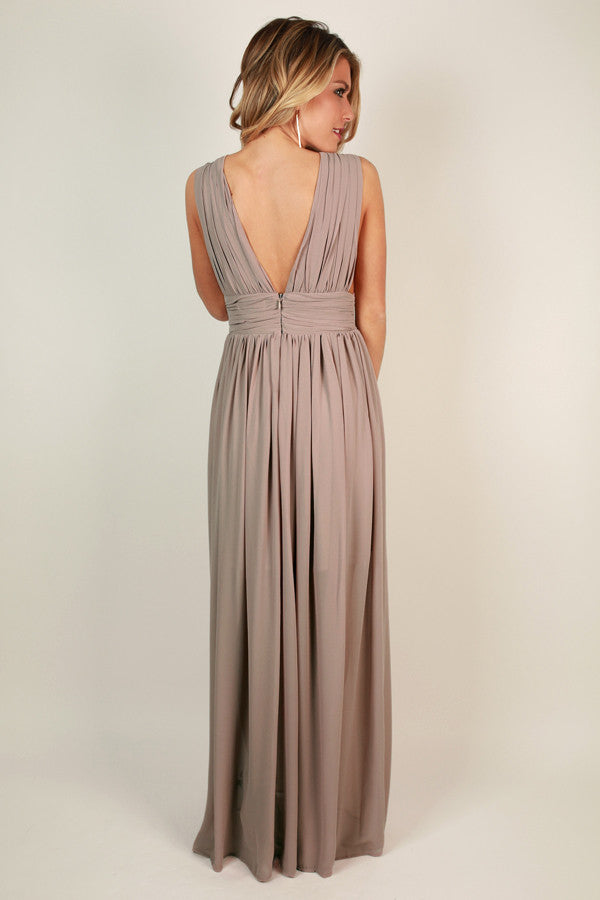 Soiree Ready Maxi Dress in Warm Taupe