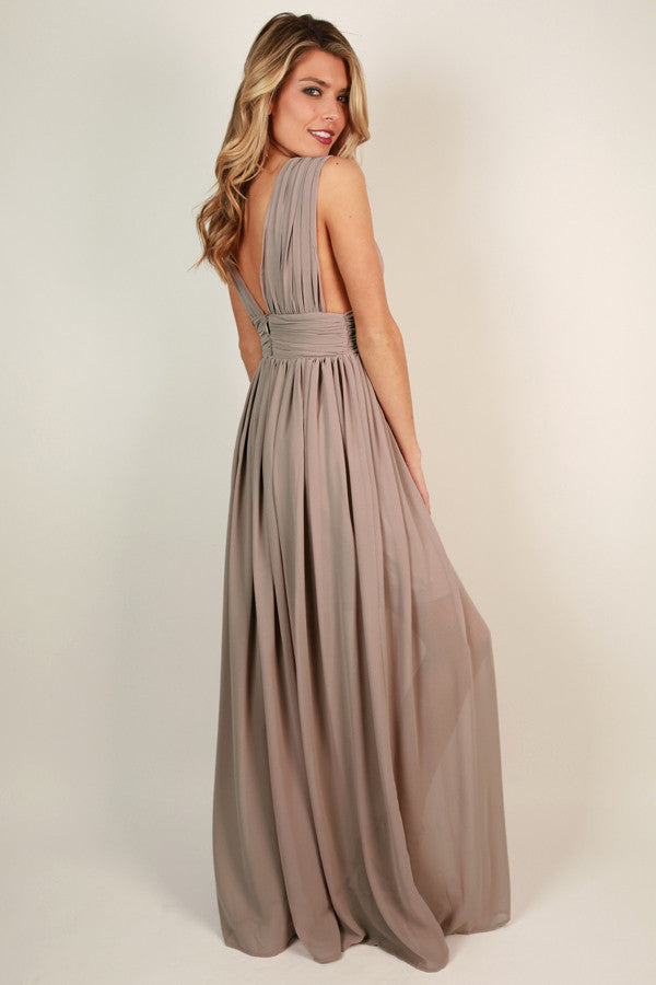 Soiree Ready Maxi Dress in Warm Taupe • Impressions Online Boutique