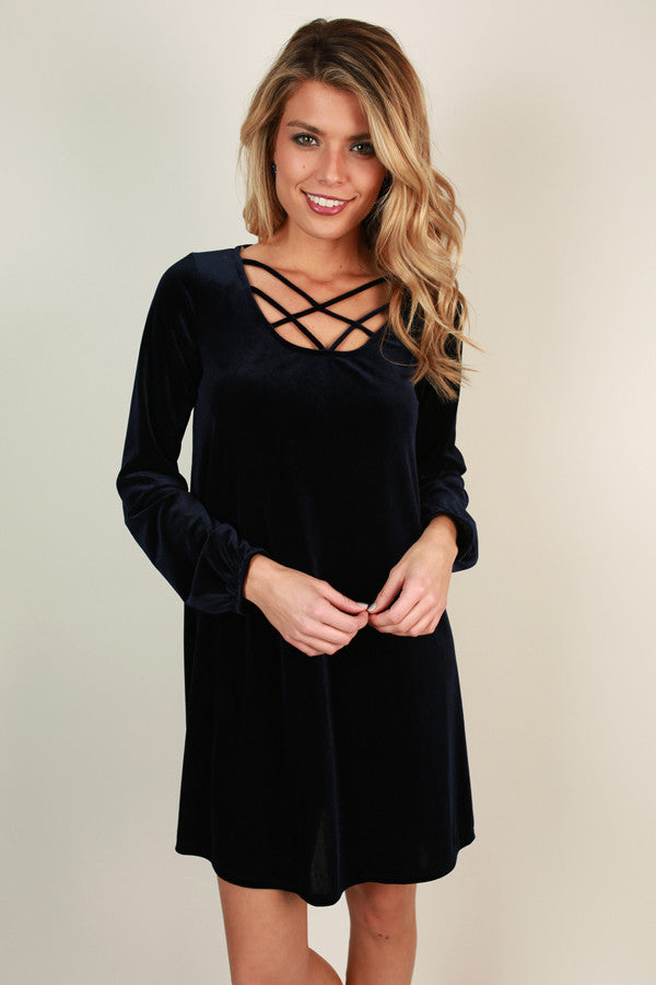 Velvet Happiness Shift Dress in Navy