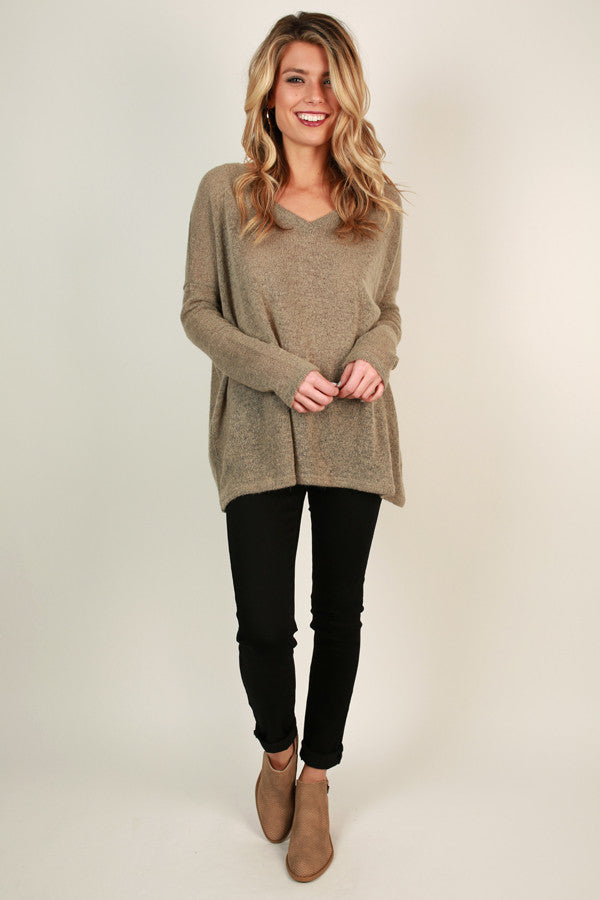 Piko V-Neck Sweater In Taupe