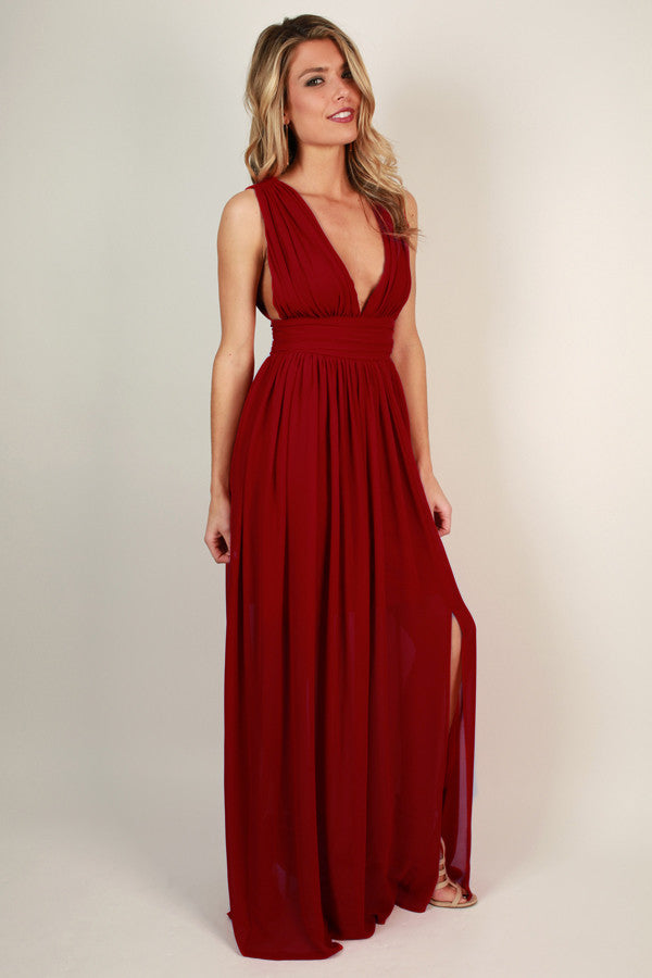 Soiree Ready Maxi Dress in Red
