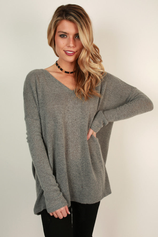 Piko V-Neck Sweater In Dark Grey