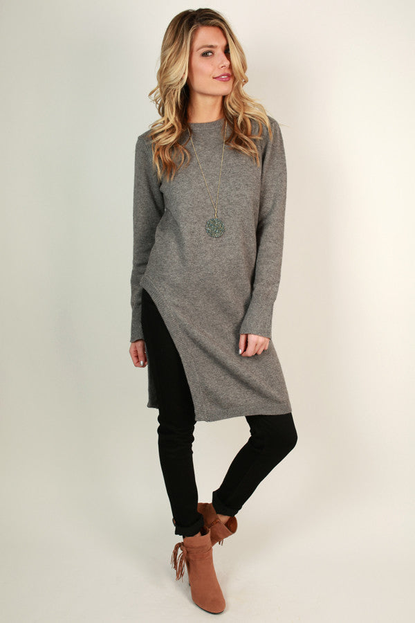 Winter Retreat Tunic Sweater in Grey