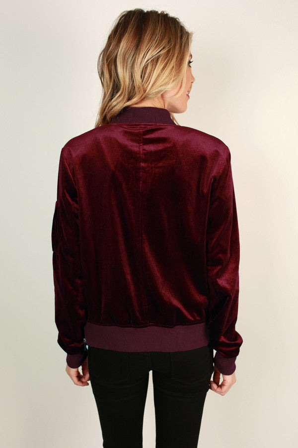 Life To The Fullest Velvet Bomber Jacket