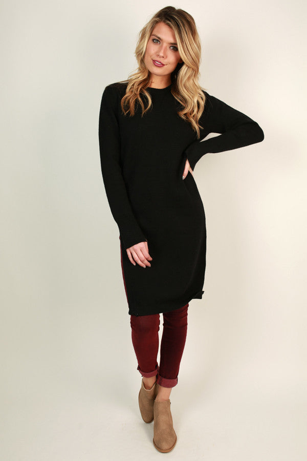 Winter Retreat Tunic Sweater in Black