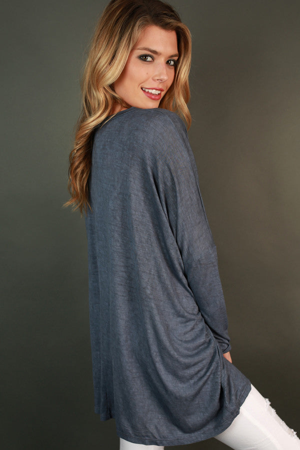 Always Cozy Tunic in Indigo Blue