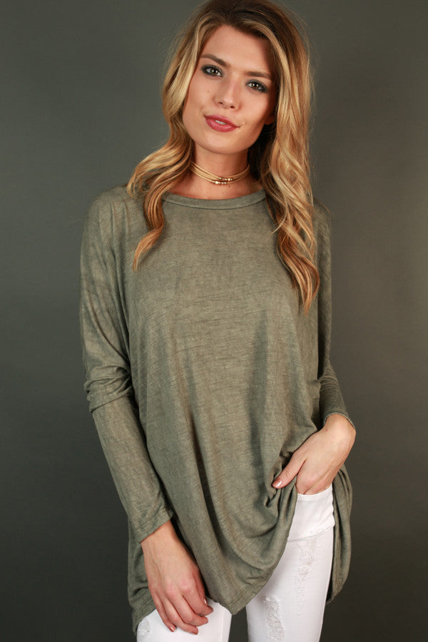 Always Cozy Tunic in Sage