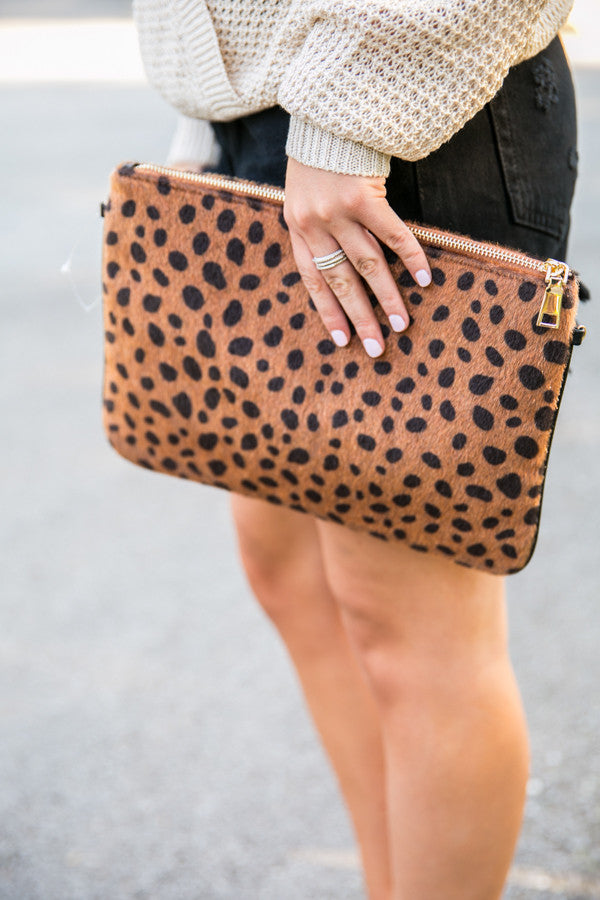 Times Square Cheetah Clutch in Cinnamon