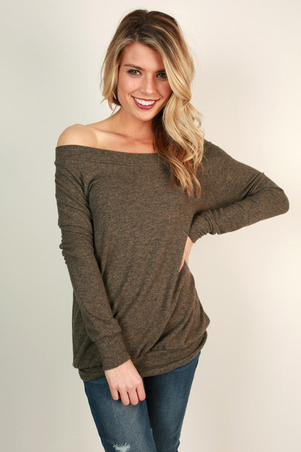 Saturday Sweetness Off Shoulder Sweater in Mocha