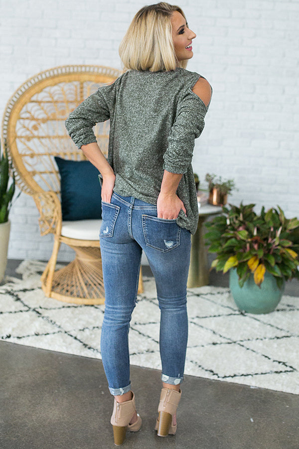 Shrug It Off Cold Shoulder Sweater in Army Green