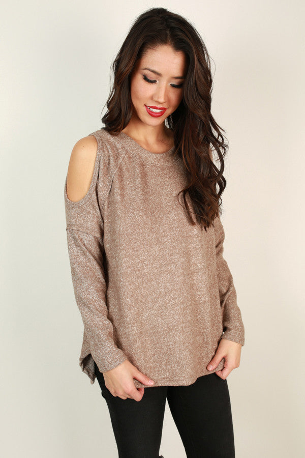 Shrug It Off Cold Shoulder Sweater in Warm Taupe