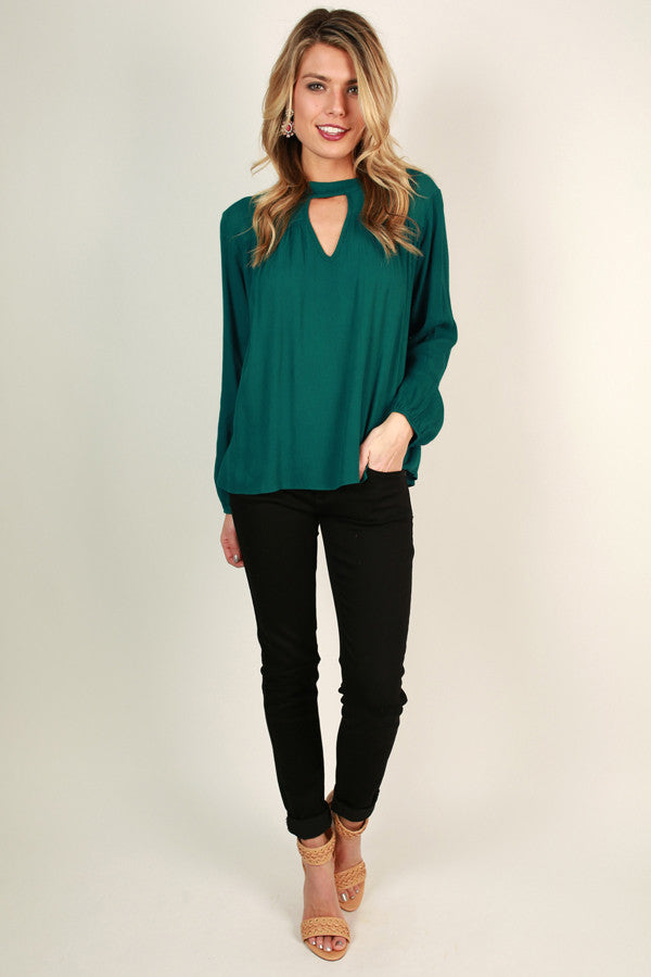 Wink This Way Cut Out Top in Dark Emerald