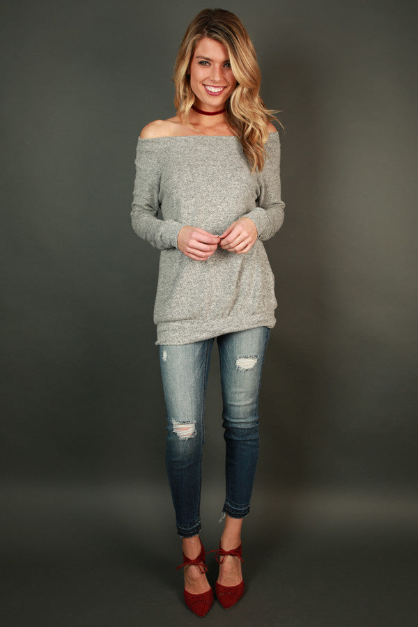 Saturday Sweetness Off Shoulder Sweater in Grey
