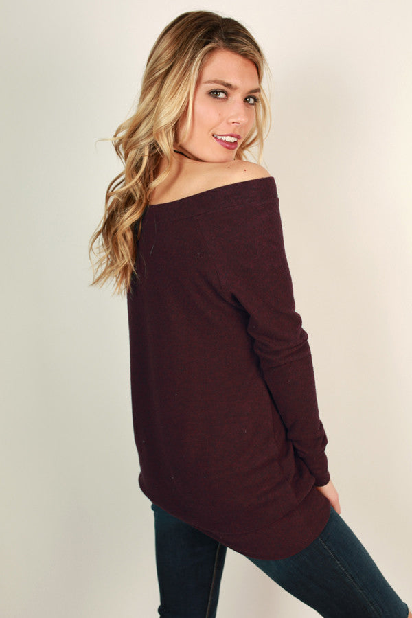 Saturday Sweetness Off Shoulder Sweater in Maroon