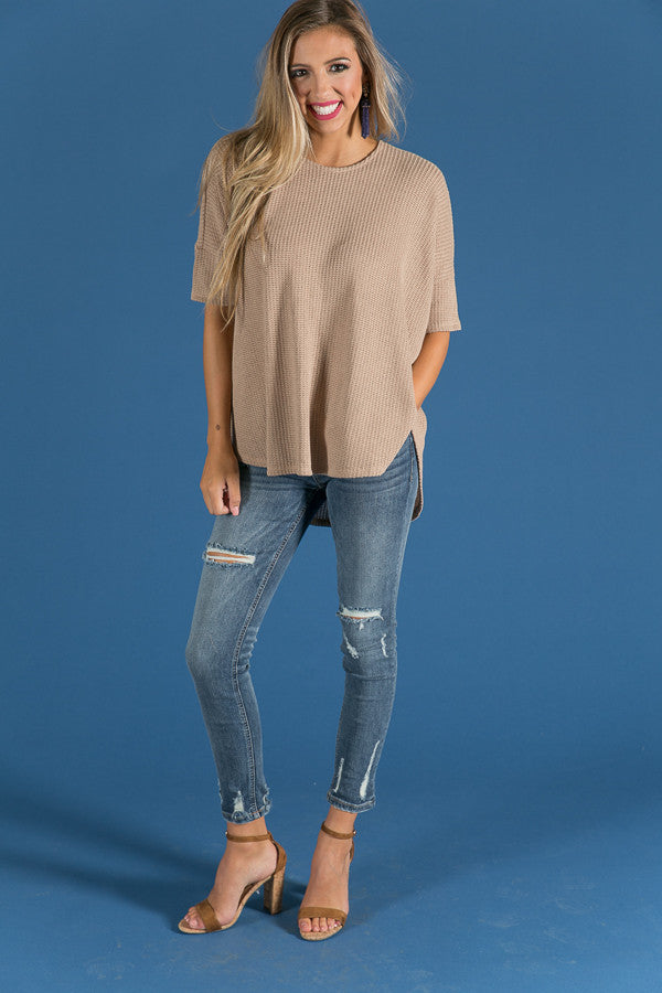 Vineyard Cozy Shift Sweater in Warm Taupe