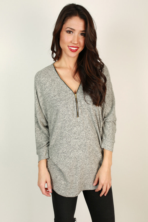 Cuddle Up Cutie Tunic in Grey