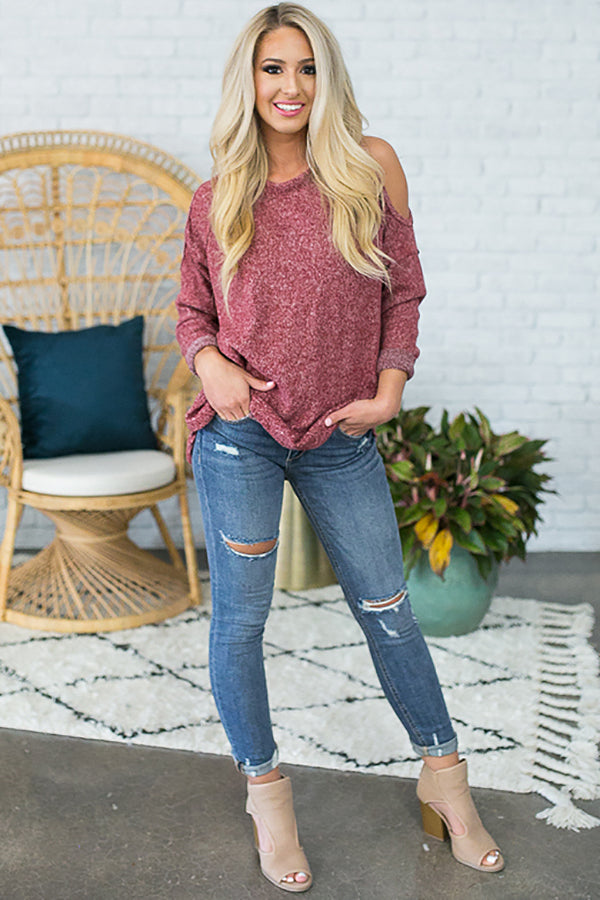 Shrug It Off Cold Shoulder Sweater in Red