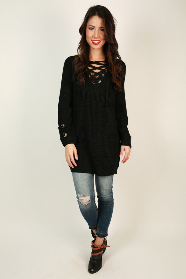 Sugar And Spice Lace Up Sweater In Black
