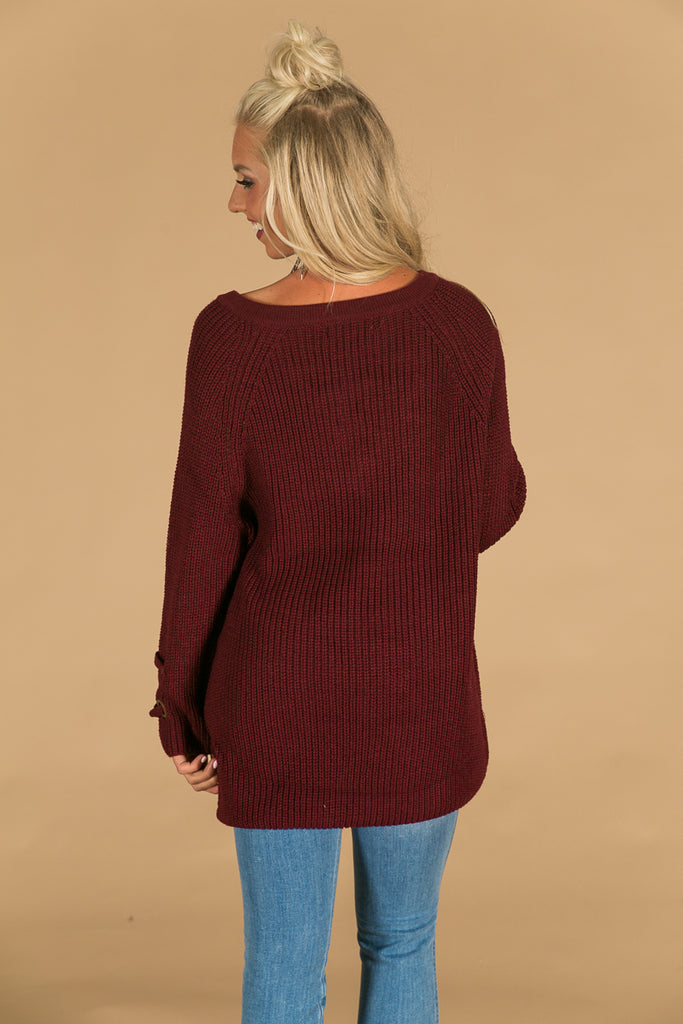 Sugar And Spice Lace Up Sweater In Maroon
