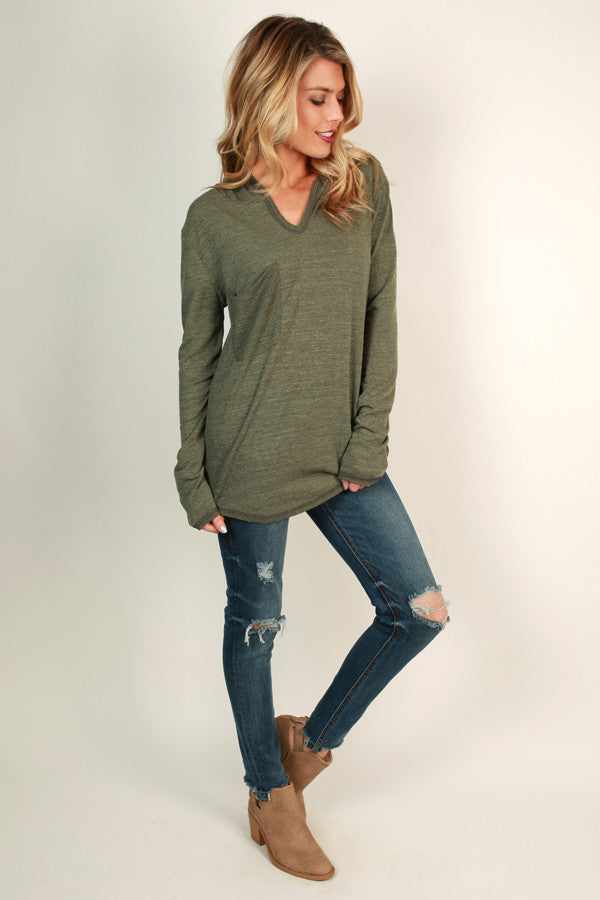 Piko Pocket Hoodie in Army Green