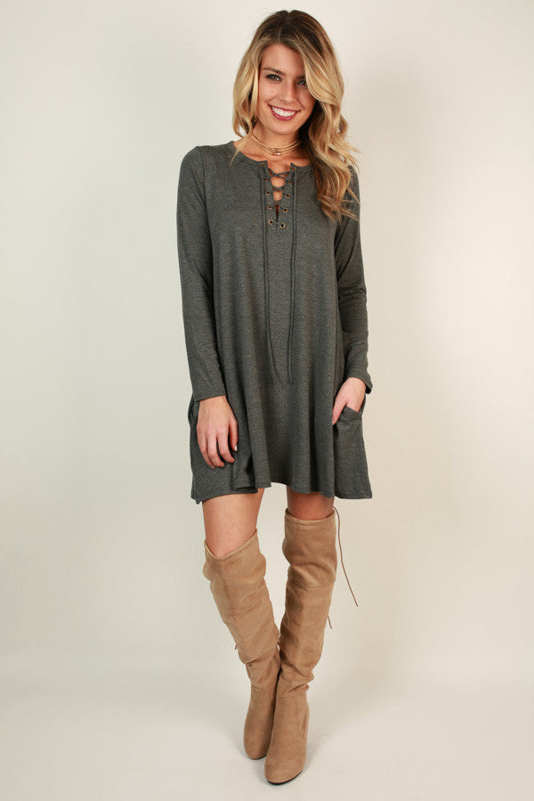 Criss Cross My Heart Shift Dress in Dark Grey