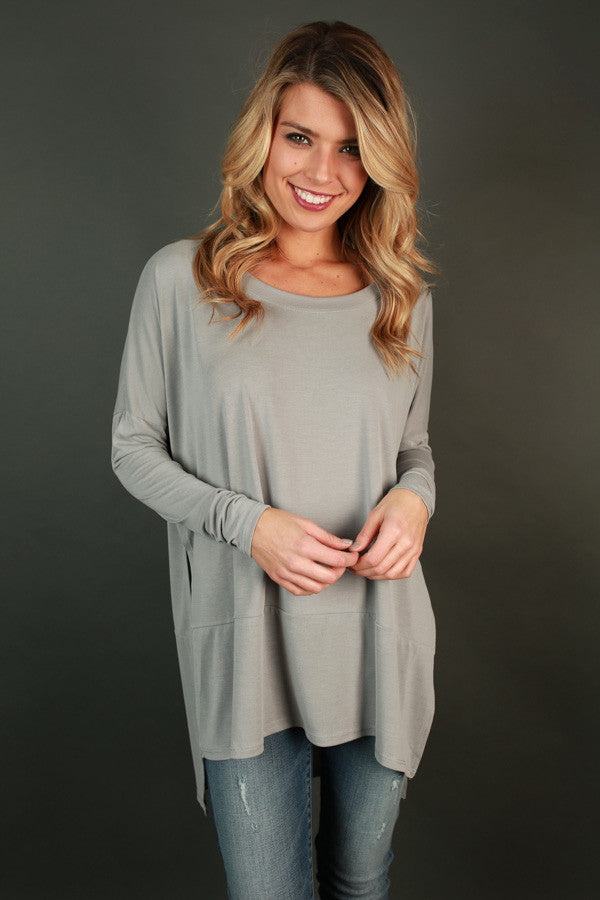 Whisk Me Away Beauty Tunic Top in Grey