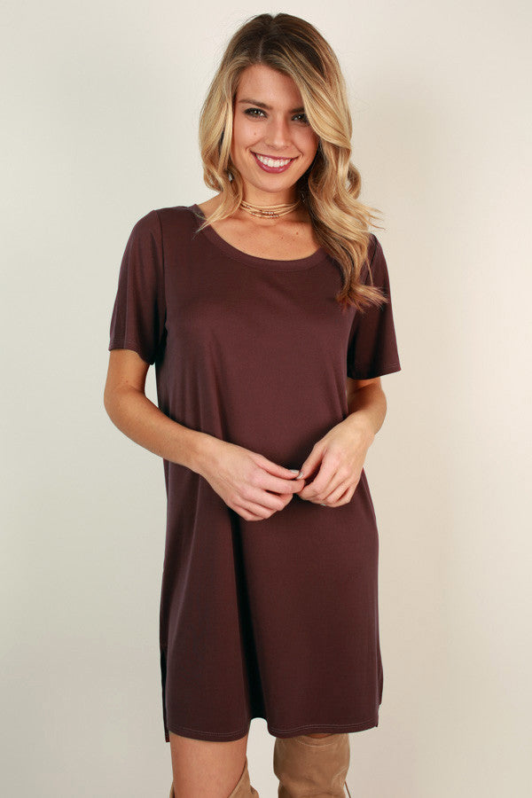 Favorite Everyday Tunic Dress in Maroon