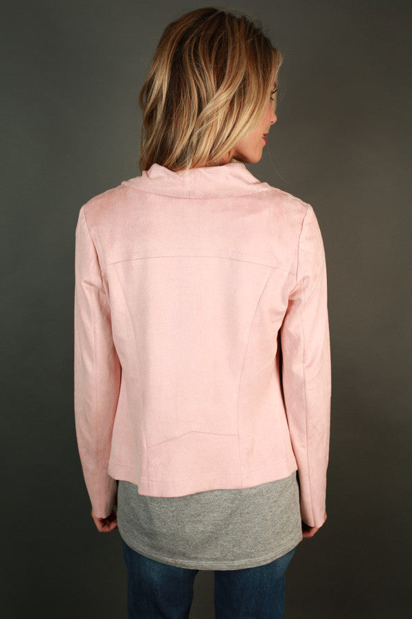Uptown Girl Faux Suede Jacket in Pink