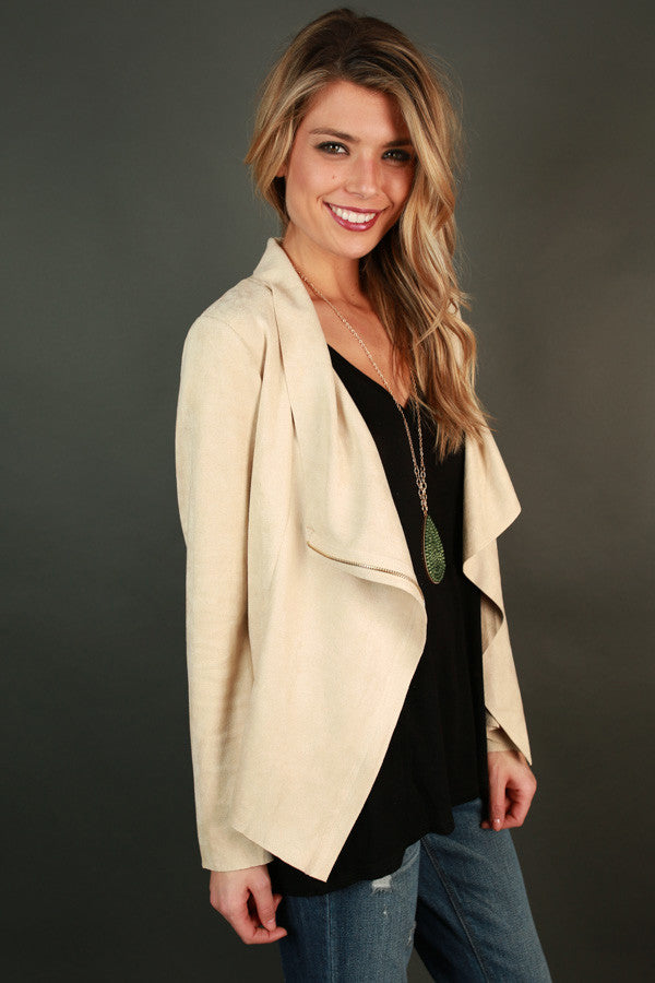Uptown Girl Faux Suede Jacket in Beige