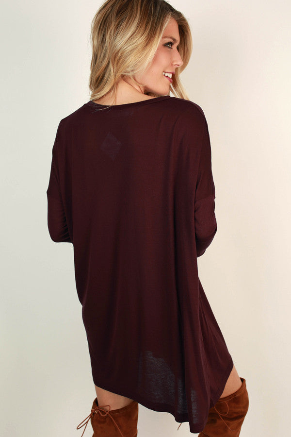 Cozy Crush Tunic Top in Maroon