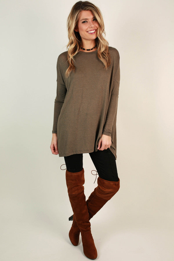 Cozy Crush Tunic Top in Taupe