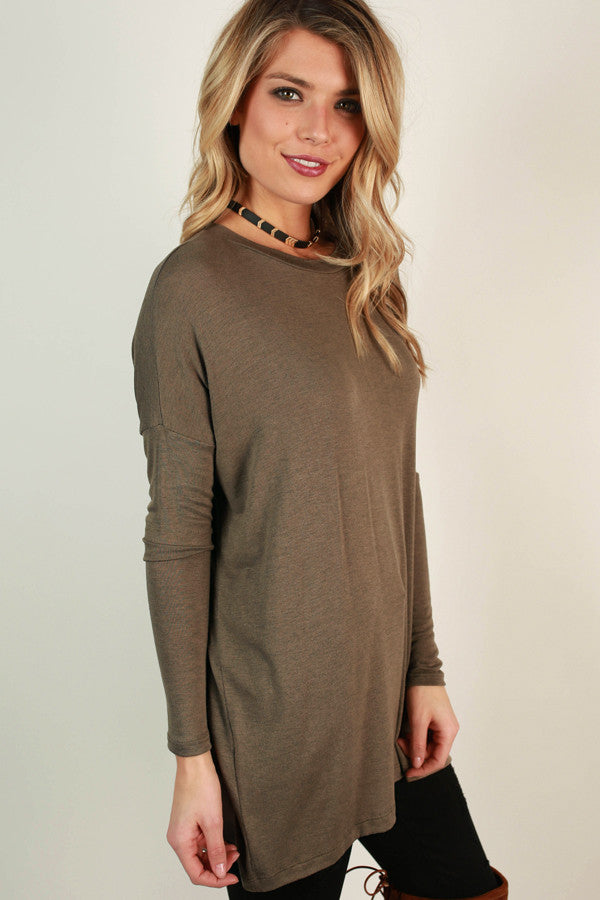 Cozy Crush Tunic Top In Taupe Impressions Online Women S