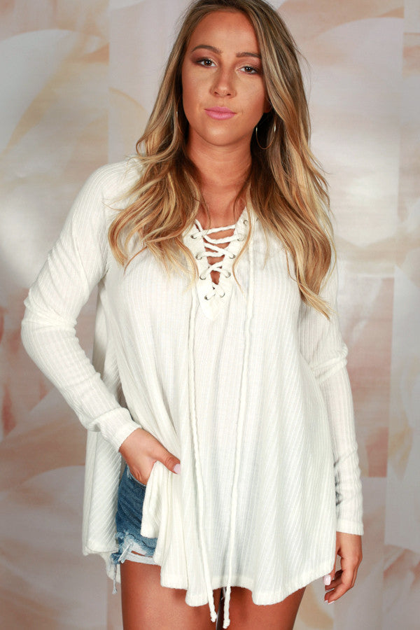 Back By Dawn Lace Up Hoodie in Ivory