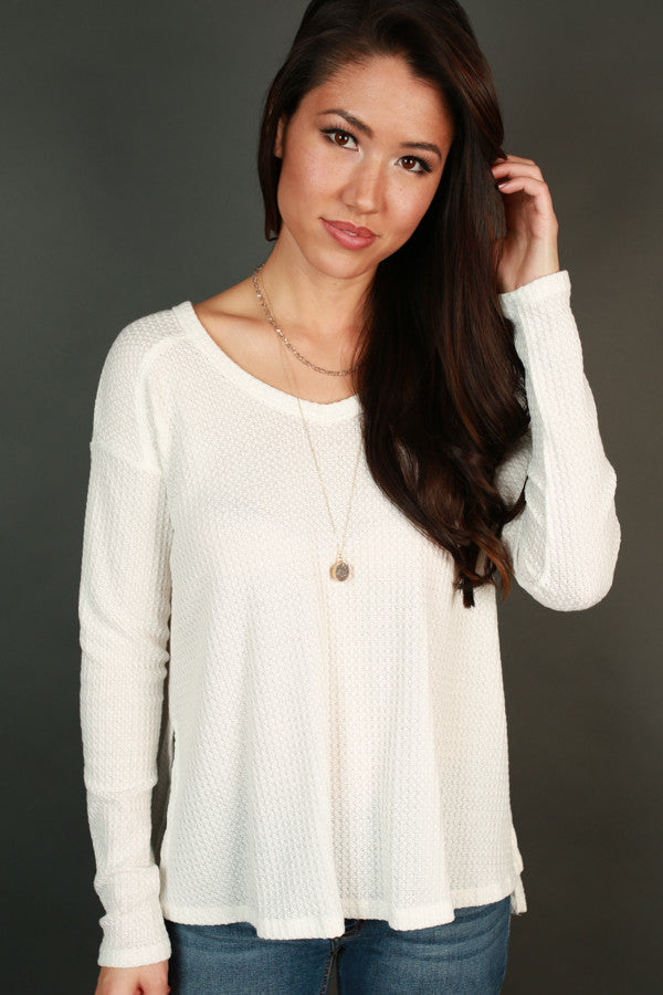 Keep It Casual Top in Ivory