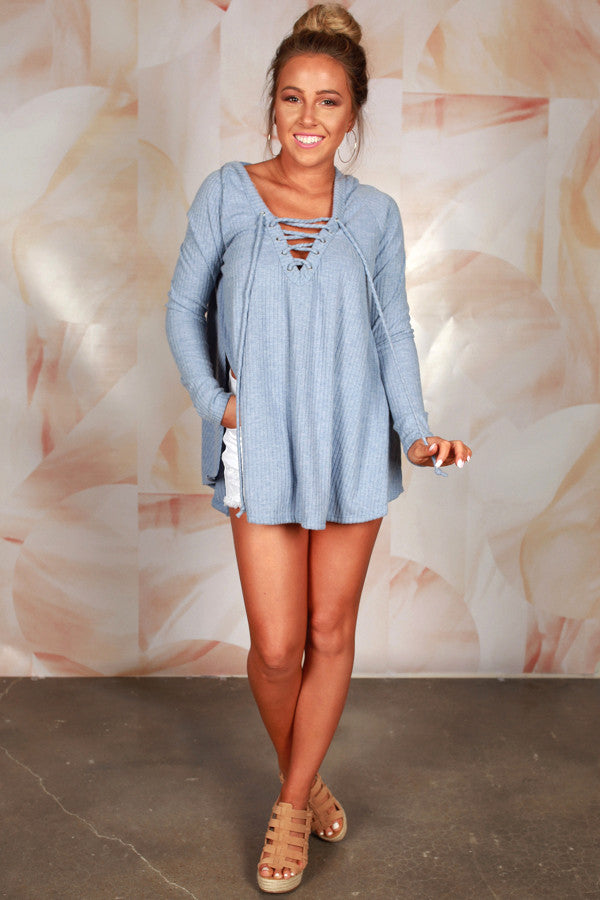 Back By Dawn Lace Up Hoodie in Periwinkle