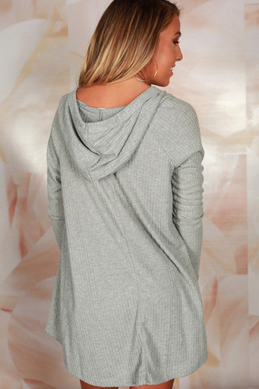 Back By Dawn Lace Up Hoodie in Grey