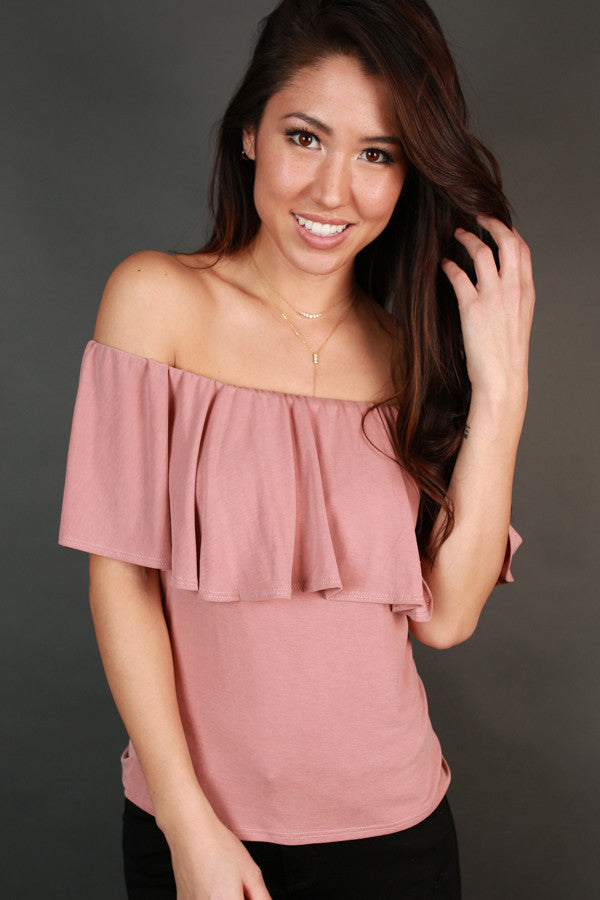 Most Loved Off Shoulder Top In Blush