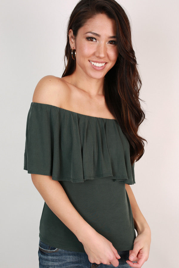 Most Loved Off Shoulder Top In Forest