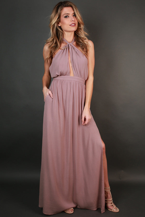 Dressed For Date Night Maxi in Dusty Purple