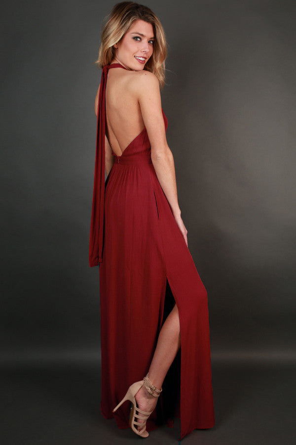 Dressed For Date Night Maxi in Crimson